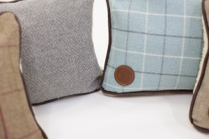 Luxury pillows by Ivy and Duke for Parkman George handmade wooden dog bed