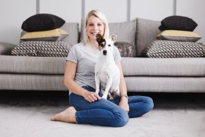 Jessica the owner of Parkman George luxury dog beds and Frank the Jack Russell