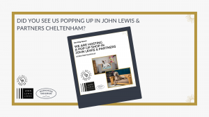Cover image for Great British Exchange Pop Up shop in John Lewis and partners Cheltenham. Parkman George luxury wooden dog beds