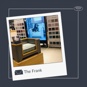 We had to borrow PG Pack member Franks own bed. The Frank design on the Parkman George Great British Exchange Pop Up shop in John Lewis Cheltenham show casting the very best in luxury wooden dog beds
